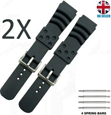 £5.99 • Buy 2x Black Diver Rubber Watch Band Watch Strap 20.22.24mm