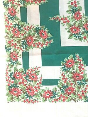 $ CDN47.99 • Buy Vintage 1950s Christmas Tablecloth Green And Red Flower & Berries