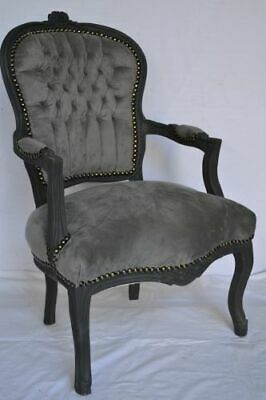 £119 • Buy Louis Xv Arm Chair French Style Chair Vintage Furniture Grey Velvet