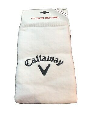 "£9.95 • Buy Callaway Tri-Fold Golf Towel. White. 16"" X 21"". Carabiner Clip. NEW With Tags"