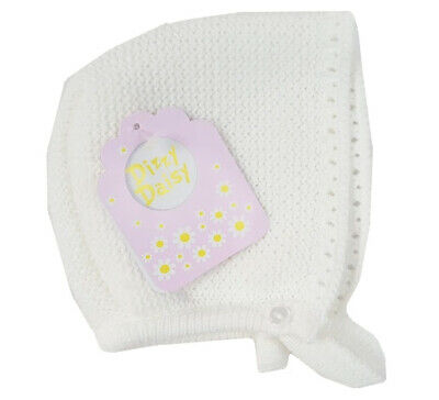 Baby Girl Knitted Bonnet Hat Spanish Romany 0-9 Month Knit Hat White Dizzy Daisy • 8.50£