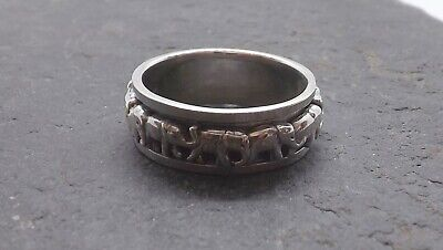 Sterling Silver Band Of Elephants Spinning Ring, Elephant Spinner Ring Size V • 26.50£