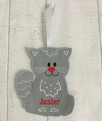 Handmade Personalised Christmas Tree Birthday Decoration Gingerbread Cat Kitten • 3.99£