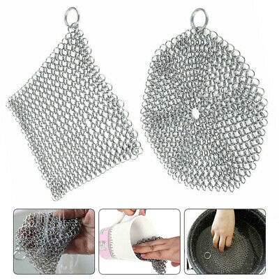 Stainless-Steel Cast Iron Cleaner Chain Mail Scrubber Tool Kitchen Cookware UK • 4.65£