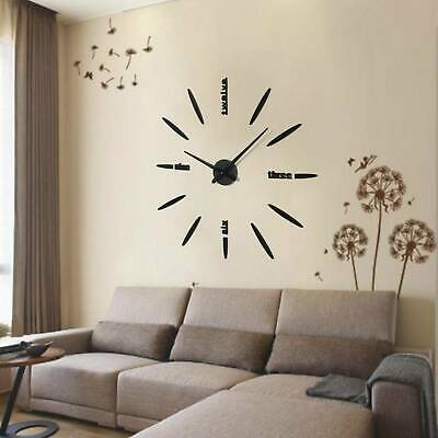 DIY Large Number Wall 3D Clock Mirror Sticker Modern Home Office Decor Art Decal • 7.49£
