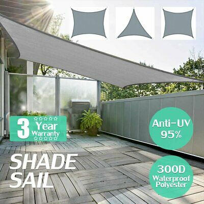 AU39.55 • Buy Extra Heavy Duty Shade Sail Shade Cloth Grey Gray Sun Triangle Square Rectangle