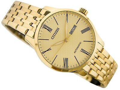 Citizen Automatic Mens Dress Watch 50M NH8352-53P Gold Plated Steel UK Seller • 159.95£