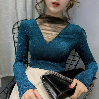 AU27.08 • Buy Autumn Winter Women Mesh Mock Neck Glitter Fitted Stretchy Ladies Blouse Top Tee
