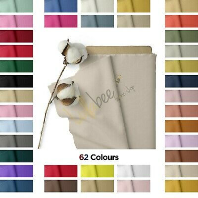 £6.99 • Buy 100% Cotton Fabric Sheeting Craft Quilting Soft Plain Fabric Material, 60  Wide