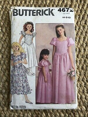 Butterick Girls Sewing Pattern Bridesmaid Party Dress Age 4-6 • 4.50£