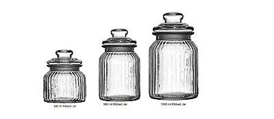 Vintage Ribbed Glass Storage Jars, Ideal  Sweets Candy Tea Coffee Sugar Pasta • 6.99£