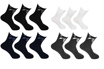 3  Pairs Of Girls Bow Ankle Comfy Socks, White, Black Ribbon Ankle School Socks • 3.45£
