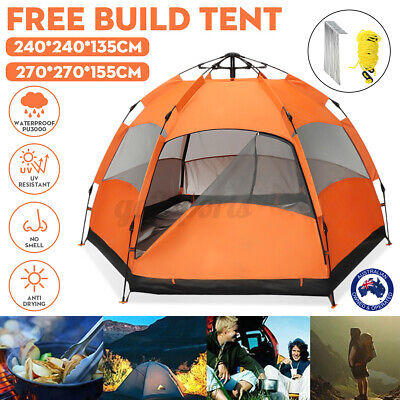 AU90.67 • Buy Automatic 2-Layer Tent Outdoor Camping Hiking Tents Waterproof For 4-6 Person AU