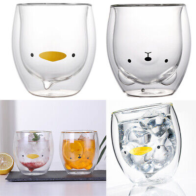 Cute Bear/Duck Mugs Double-Wall Insulated Glass Tea Cup Espresso Cups 250ml Gift • 6.98£