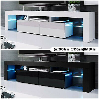 AU279.99 • Buy 200cm Modern LED TV Stand Cabinet Wooden Entertainment Unit Storage Black White