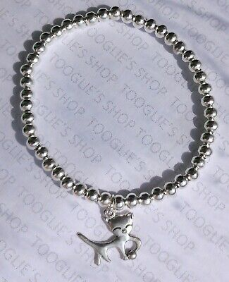 Handmade Silver Plated Stacking Bead Stretch Bracelet With Cat Charm (067) • 2.95£