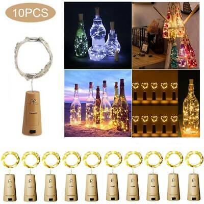 AU17.99 • Buy 10X LED Cork Copper Wire Bottle Wine String Lights Xmas Fairy Party Decoration