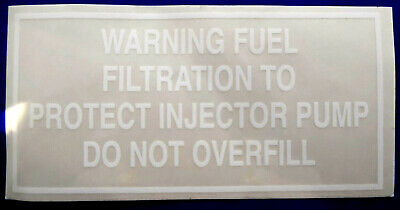 £4.95 • Buy MASSEY FERGUSON TRACTOR (various, See Listing) FUEL FILTRATION WARNING DECAL