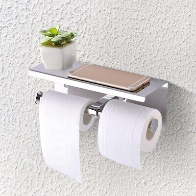 AU32.87 • Buy Wall Mounted Bathroom Toilet Paper Phone Holder Rack Double Tissue Roll Stand