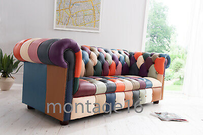 £1295 • Buy Bespoke Alvah Patchwork Leather Chesterfield Sofa Pastel