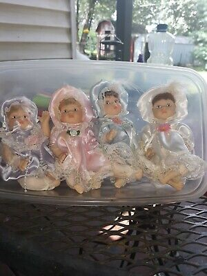 $ CDN16.40 • Buy Mini Porcelain Doll Lot Of 4 With Dresses And Bonnets