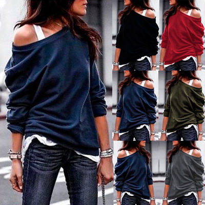 Plus Size Womens Off The Shoulder Jumper Tops Blouse Ladies Loose Sweater Casual • 9.49£