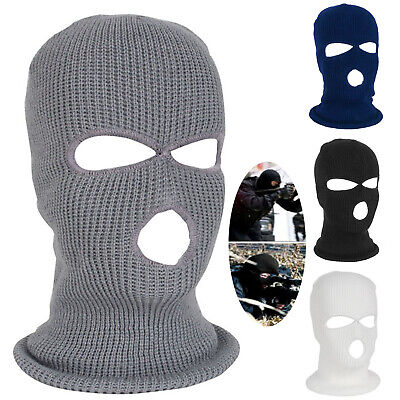 Mens Outdoor Ski Windproof Knitted Full Face Covers 3 Holes Balaclava Hat Cap UK • 5.79£