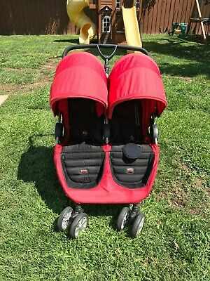 Britax B-Agile Double Stroller Red-Side By Side Large UV50 Canopies -Gently Used • 133.86£