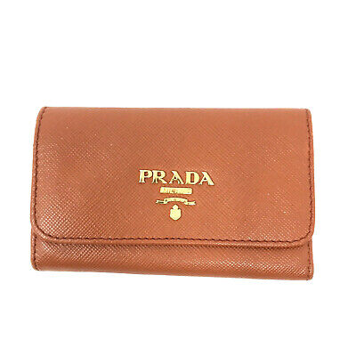 Authentic Prada Saffiano Leather Key Pouch Purse In Orange Made In Italy Y2K • 55£