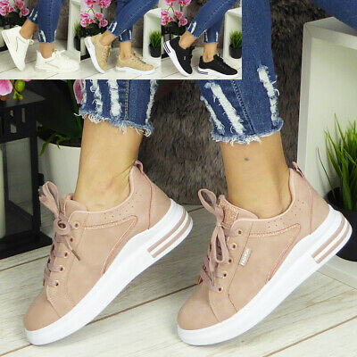 Ladies Trainers Womens Sneakers Platform Lace Up Comfy Classic Bling Pumps Shoes • 12.99£