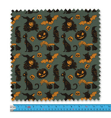 £11.99 • Buy Cute Witch & Cat Fabric 21 Variations Price Per Metre LSFABRIC297