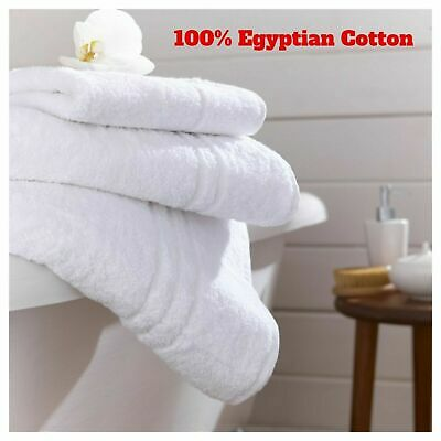 100% Egyptian Combed Cotton Super Soft White Bath Sheet Hand Face Cloth Towel  • 18.90£