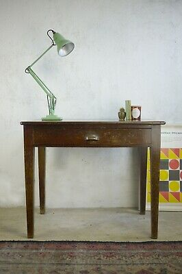 Vintage Mid Century Compact School Library Desk Table Iroko Top Drawer Brass GRV • 225£