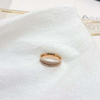 Rose Gold Plated Sparkling Links Chain Ring - Her Gifts • 3.99£