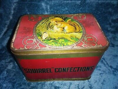 Vintage Large Advertising Confectionery Sweet Tin - Squirrel Confections • 21.60£
