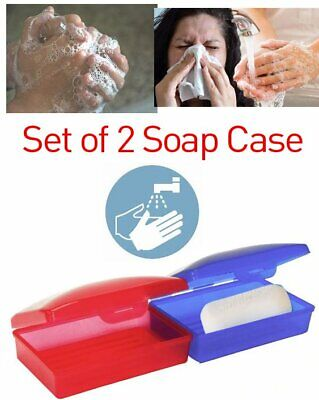2 Soap Dispenser Dish Case Holder Container Box For Bathroom Travel Carry Case  • 1.99£