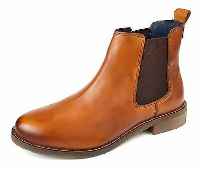 Womens Ankle Chelsea Boots Tan Leather Ladies Slip On Size 3 4 5 6 7 8 • 31.97£