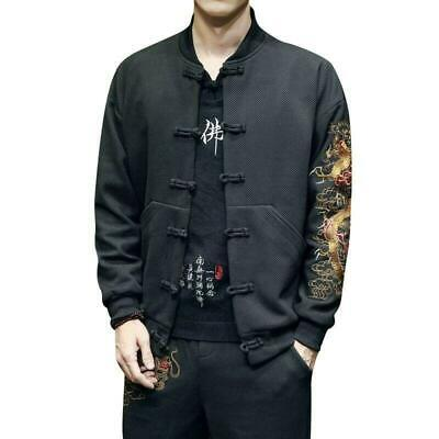 $62.99 • Buy Mens Chinese Long Sleeve Embroidery Dragon Coats Cotton Han Jackets Clothes 2020