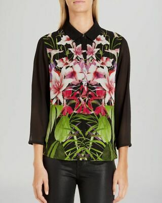 Bnwt Ted Baker Marias Floral Tropical Print Shirt Size 1 Uk 8 Brand New With Tag • 19.99£