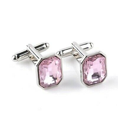 £4.49 • Buy Silver Pink Crystal Cufflinks Square Formal Wedding Business For Suit Shirt