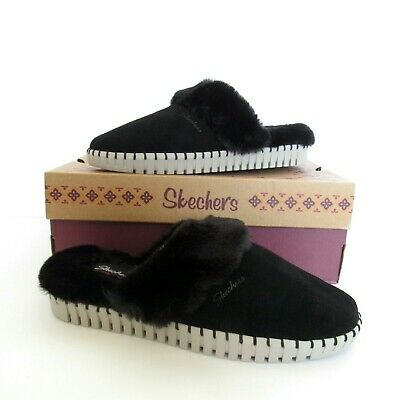 Skechers Womens Size 10 Sepulveda BLVD Hang Easy Slippers Black Faux Fur Lined • 21.70£