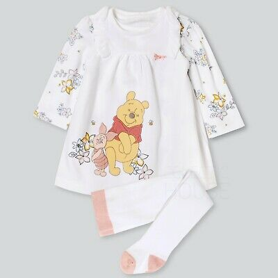 Baby Girl Disney Winnie The Pooh White 3 Piece Set, Dress Top Tights Outfit • 8.95£