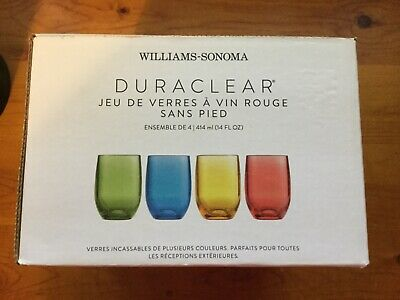 $36 • Buy Williams-Sonoma 4 DuraClear Polycarbonate Outdoor 14 Oz Stemless Wine Glass Set
