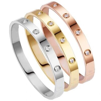 £6.79 • Buy Women Rose Gold/Gold Plated Love Forever Bangle With Cubic Zirconia - Her Gifts