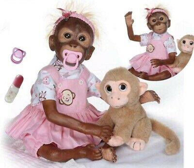 20  Realistic Reborn Baby Dolls Monkey Soft Silicone Real Life Toddler Gifts  • 58.95£