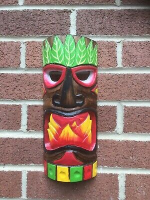 ChiselCraft Large 30cm Hand Carved Maori Wooden Hanging Tiki Mask Tribal Art C • 10.99£