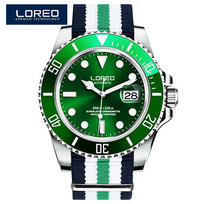 $ CDN182.13 • Buy Loreo Diving Watch  Automatic Submariner Men 200m Stainless Steel Canvas Day