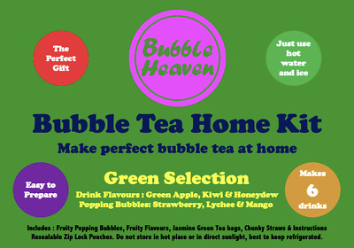 Boba Bubble Tea Make At Home Kit Makes 6 Extra Large Fruity Green Drinks  • 15.99£