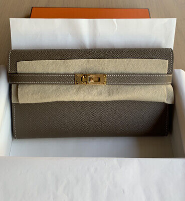 AU4800 • Buy Authentic Hermes Kelly Classic Wallet - Etoupe With Gold Hardware