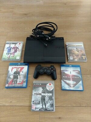 Bundle SONY PS3 SUPER SLIM 500GB Console Controller Games & Movies Blu Ray • 79.99£